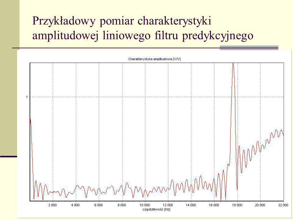 Przykładowy pomiar charakterystyki amplitudowej liniowego filtru predykcyjnego