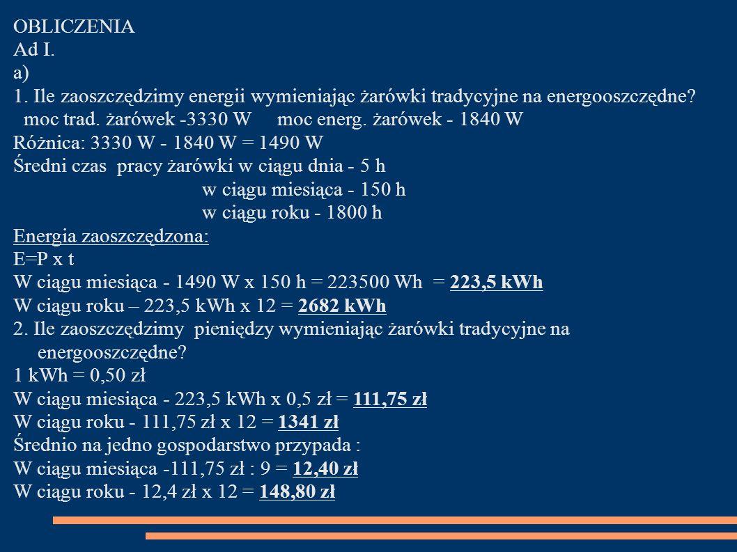 OBLICZENIA Ad I. a) 1. Ile zaoszczędzimy energii wymieniając żarówki tradycyjne na energooszczędne