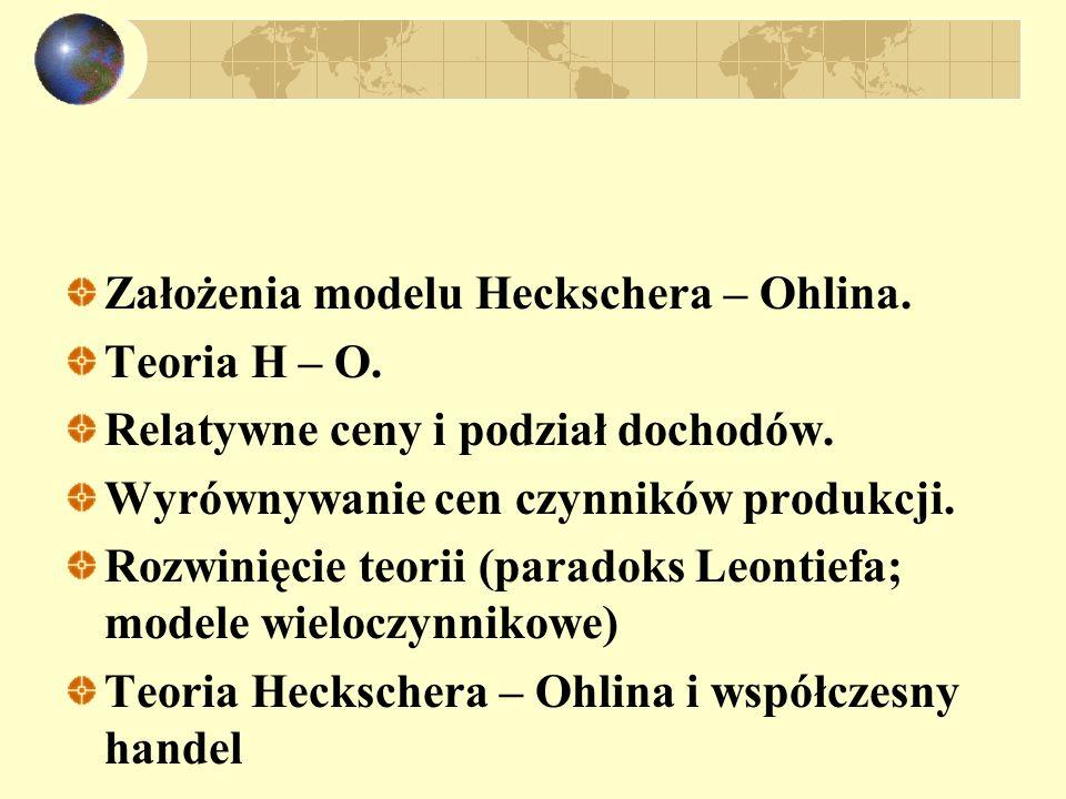 Założenia modelu Heckschera – Ohlina.