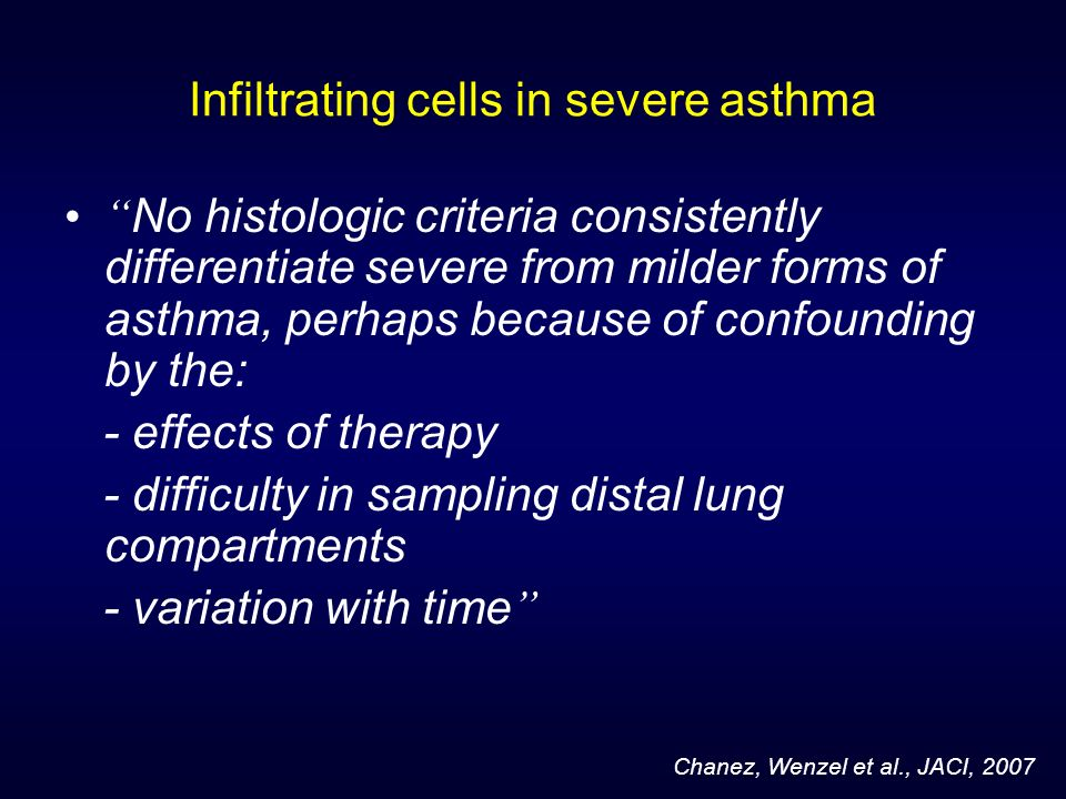 Infiltrating cells in severe asthma