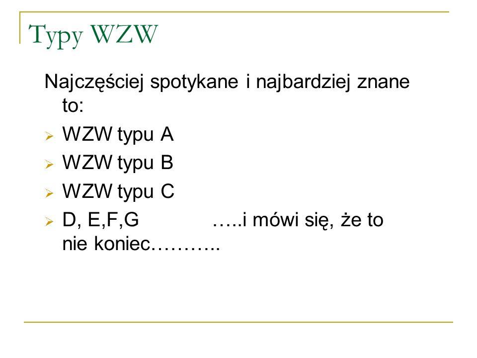 Typy WZW Najczęściej spotykane i najbardziej znane to: WZW typu A