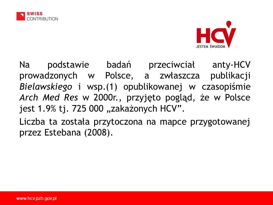 """Na podstawie badań przeciwciał anty-HCV prowadzonych w Polsce, a zwłaszcza publikacji Bielawskiego i wsp.(1) opublikowanej w czasopiśmie Arch Med Res w 2000r., przyjęto pogląd, że w Polsce jest 1.9% tj. 725 000 """"zakażonych HCV ."""