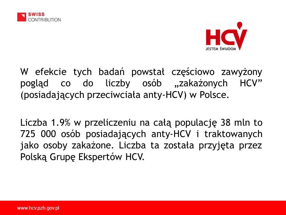 """W efekcie tych badań powstał częściowo zawyżony pogląd co do liczby osób """"zakażonych HCV (posiadających przeciwciała anty-HCV) w Polsce."""