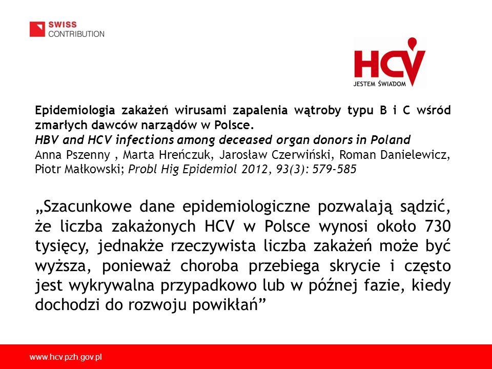 Epidemiologia zakażeń wirusami zapalenia wątroby typu B i C wśród zmarłych dawców narządów w Polsce.