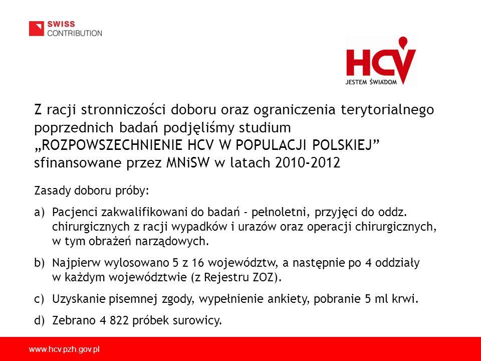 """Z racji stronniczości doboru oraz ograniczenia terytorialnego poprzednich badań podjęliśmy studium """"ROZPOWSZECHNIENIE HCV W POPULACJI POLSKIEJ sfinansowane przez MNiSW w latach 2010-2012"""