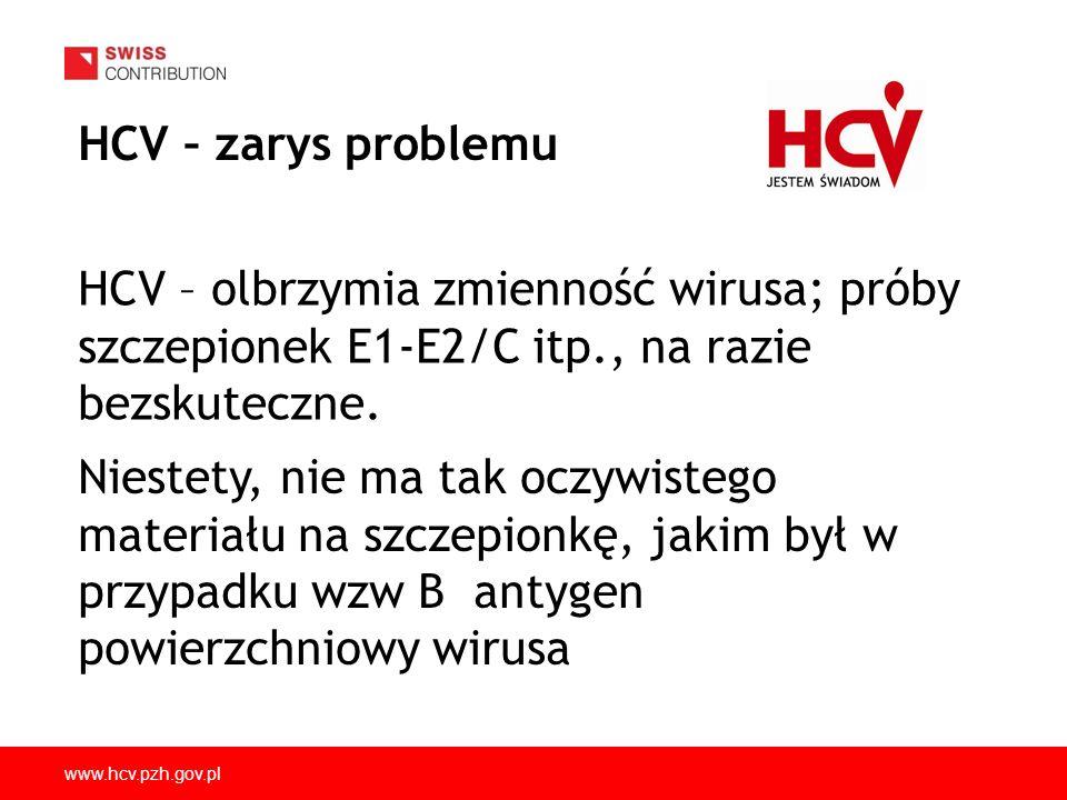 HCV – zarys problemuHCV – olbrzymia zmienność wirusa; próby szczepionek E1-E2/C itp., na razie bezskuteczne.