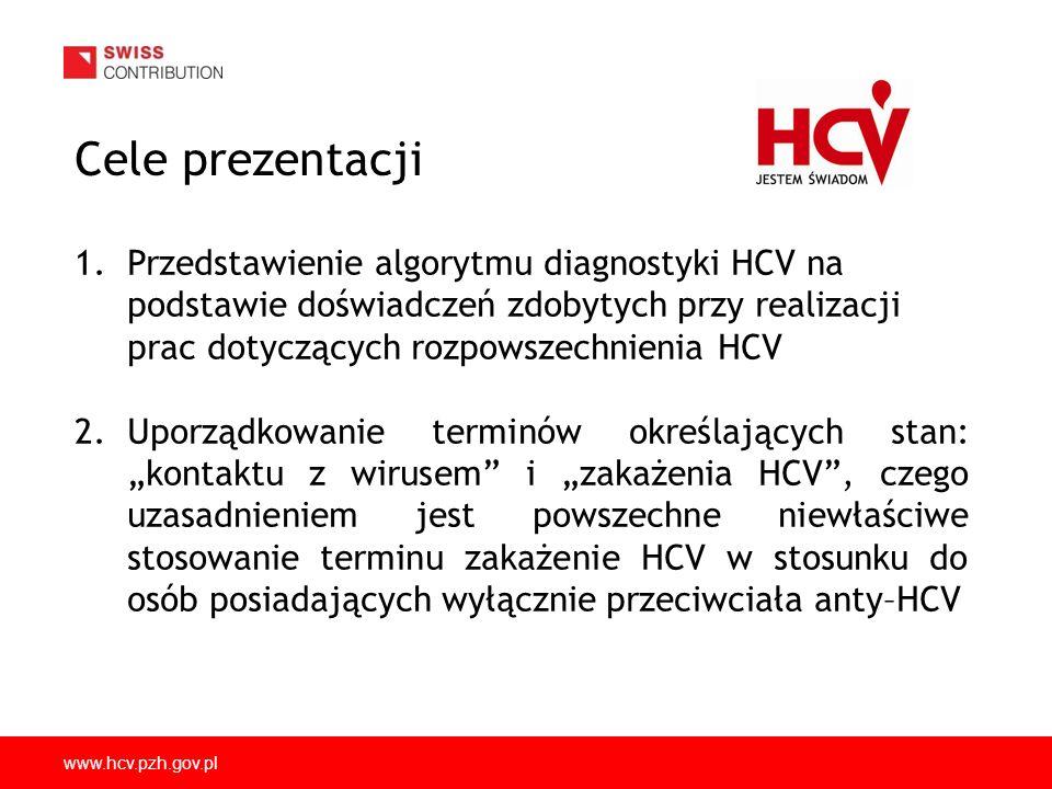 Cele prezentacji Przedstawienie algorytmu diagnostyki HCV na podstawie doświadczeń zdobytych przy realizacji prac dotyczących rozpowszechnienia HCV.