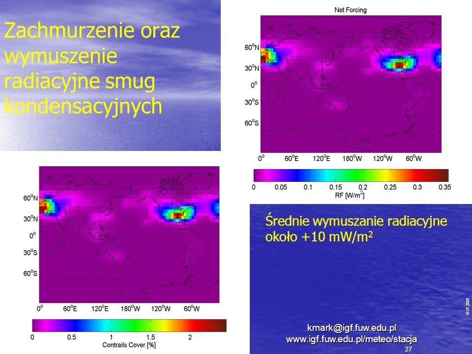 Zachmurzenie oraz wymuszenie radiacyjne smug kondensacyjnych