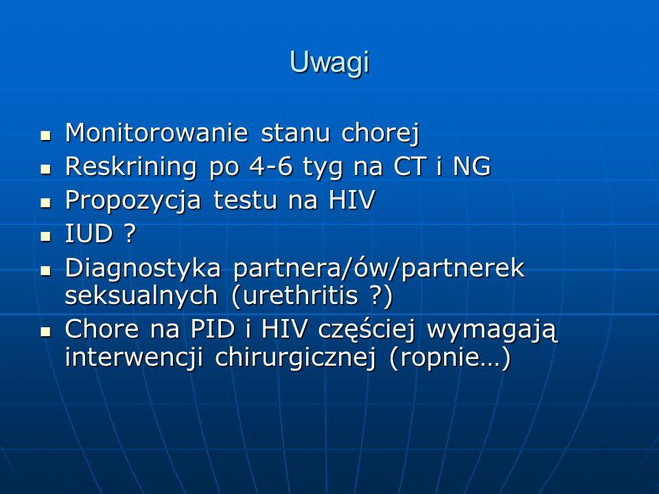 Uwagi Monitorowanie stanu chorej Reskrining po 4-6 tyg na CT i NG