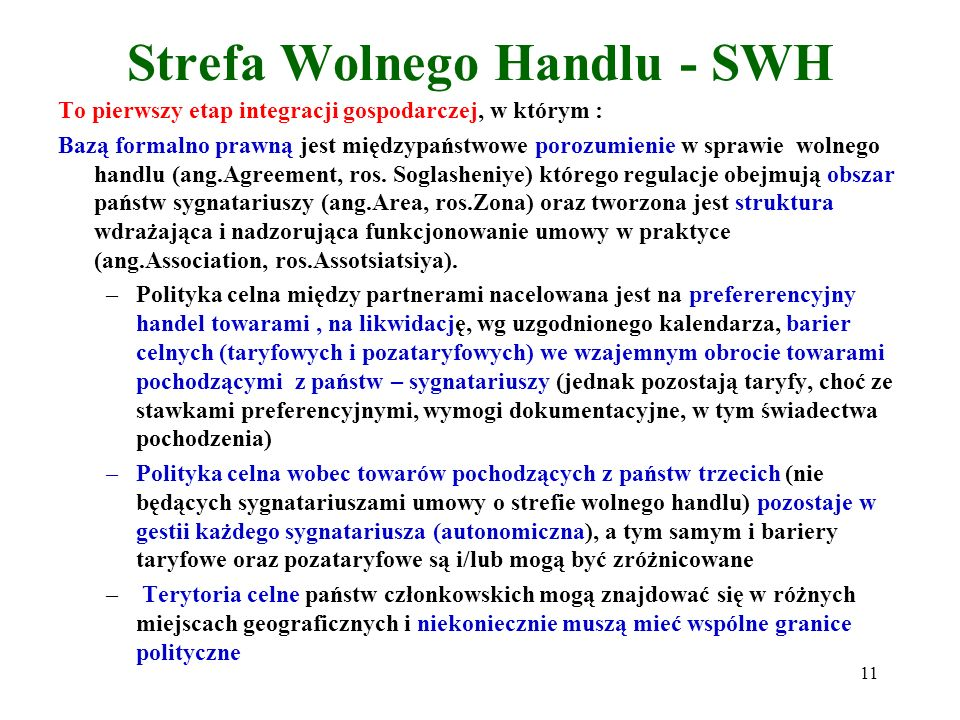 Strefa Wolnego Handlu - SWH