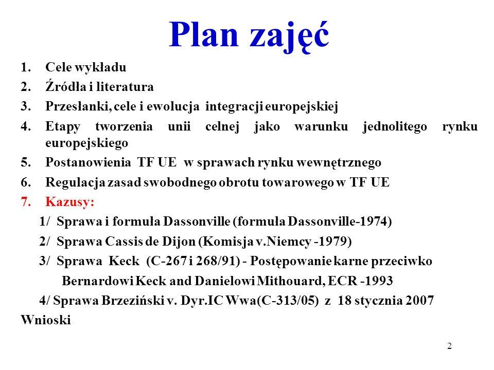 Plan zajęć Cele wykładu Źródła i literatura