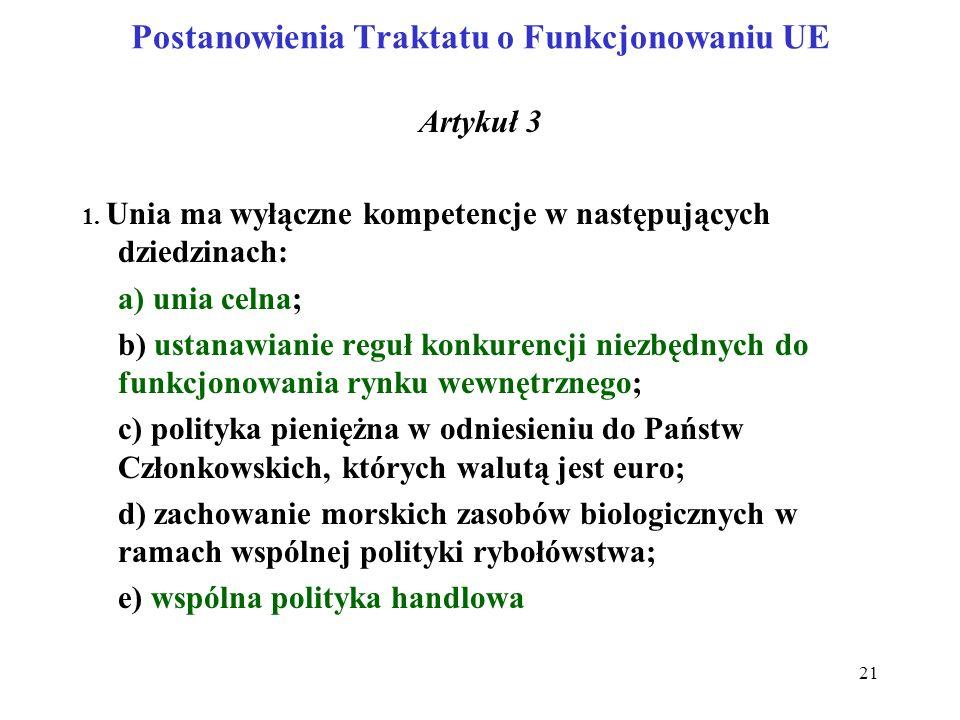 Postanowienia Traktatu o Funkcjonowaniu UE