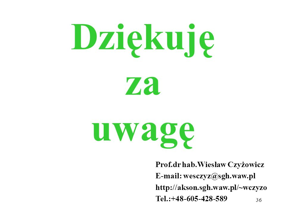 Dziękuję za uwagę Prof.dr hab.Wiesław Czyżowicz