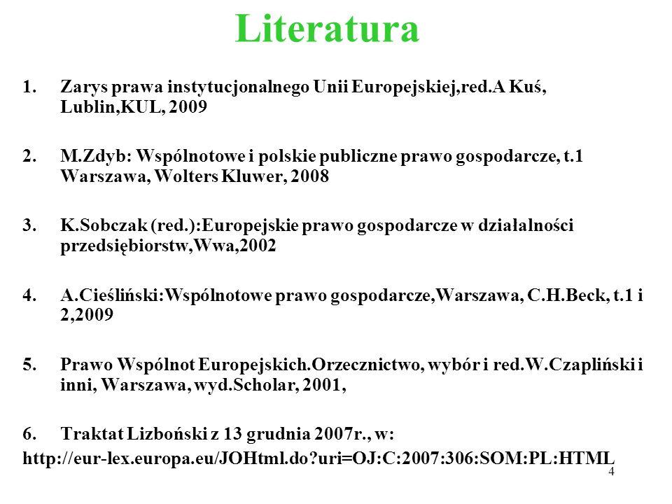 Literatura Zarys prawa instytucjonalnego Unii Europejskiej,red.A Kuś, Lublin,KUL, 2009.