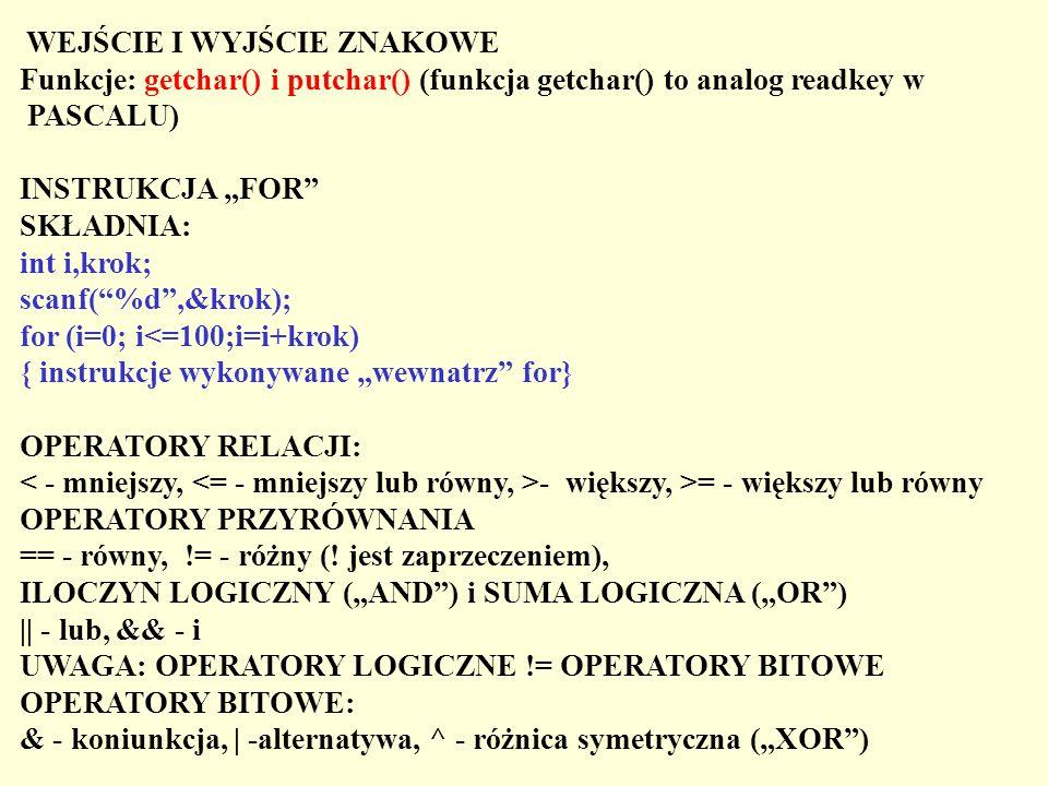 Funkcje: getchar() i putchar() (funkcja getchar() to analog readkey w