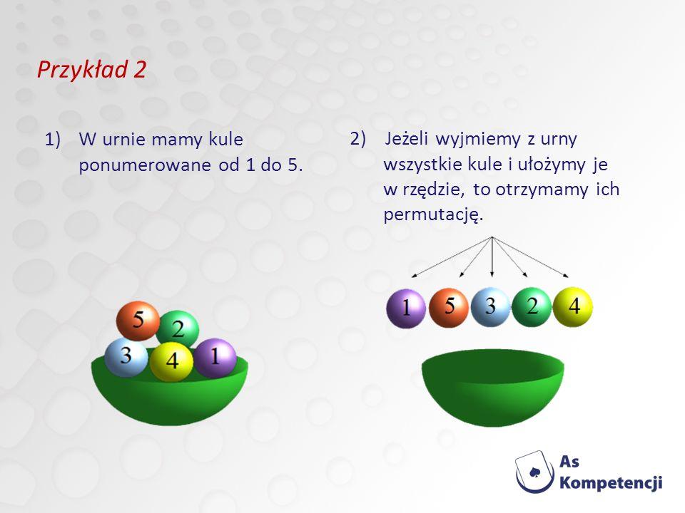 Przykład 2 W urnie mamy kule ponumerowane od 1 do 5.