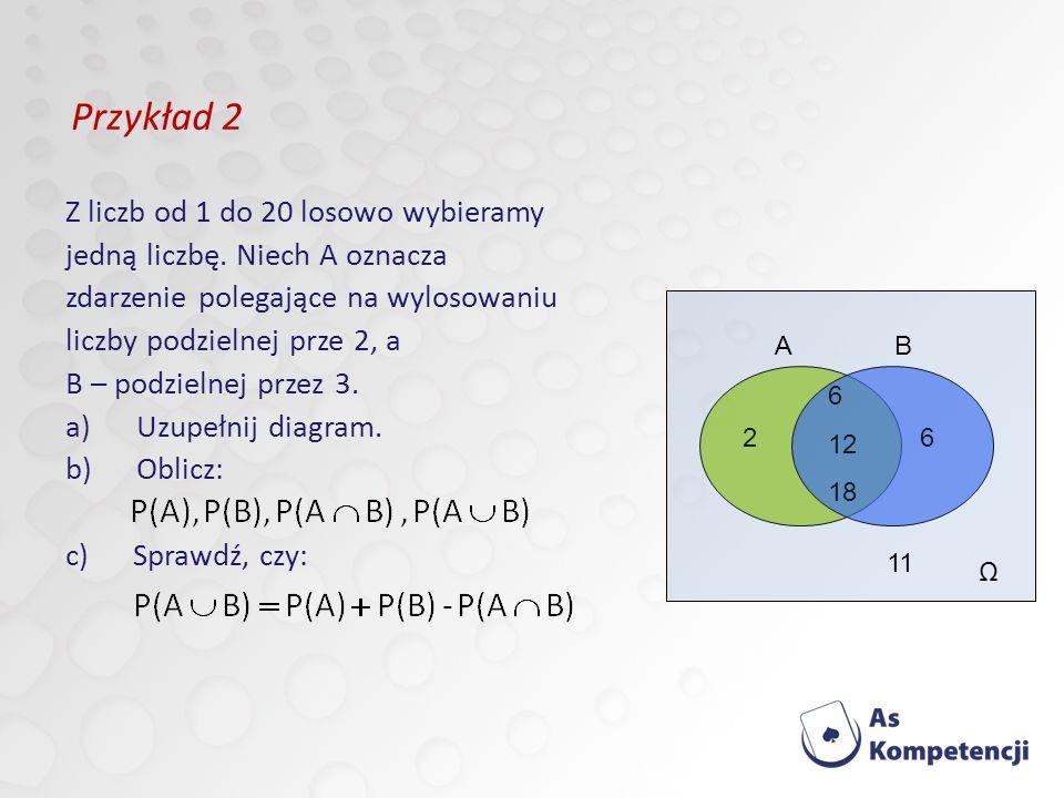 Przykład 2 Z liczb od 1 do 20 losowo wybieramy