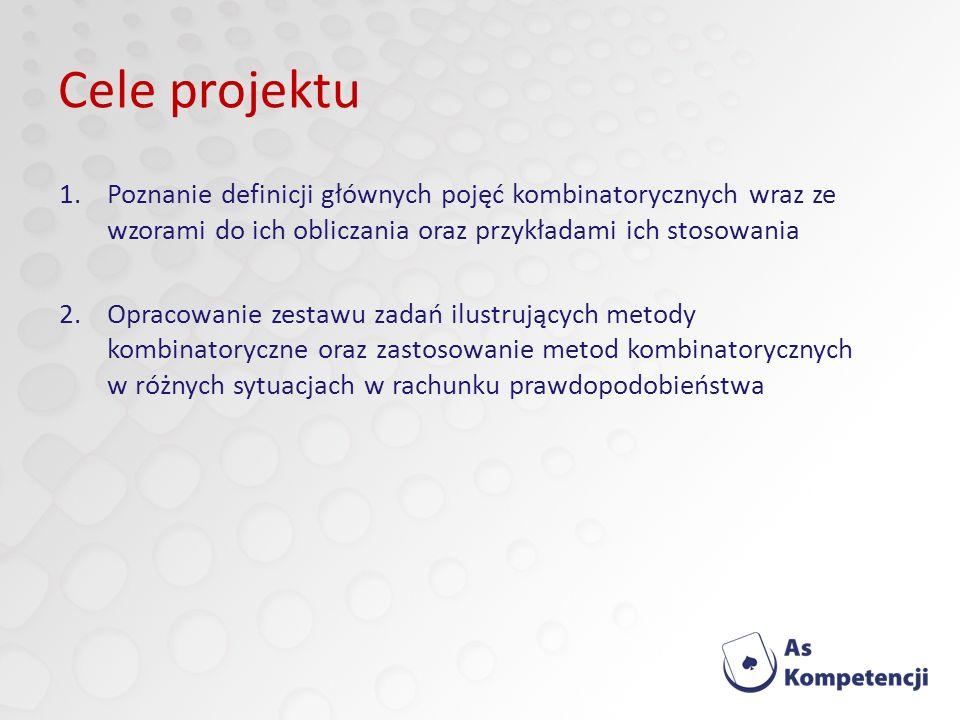 Cele projektu Poznanie definicji głównych pojęć kombinatorycznych wraz ze wzorami do ich obliczania oraz przykładami ich stosowania.