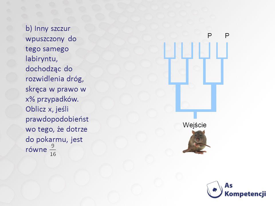 b) Inny szczur wpuszczony do tego samego labiryntu, dochodząc do rozwidlenia dróg, skręca w prawo w x% przypadków. Oblicz x, jeśli prawdopodobieństwo tego, że dotrze do pokarmu, jest równe