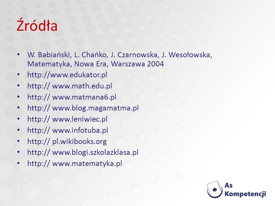 Źródła W. Babiański, L. Chańko, J. Czarnowska, J. Wesołowska, Matematyka, Nowa Era, Warszawa 2004.