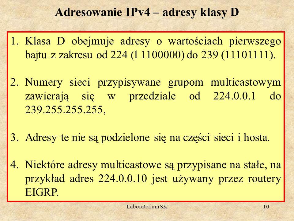 Adresowanie IPv4 – adresy klasy D