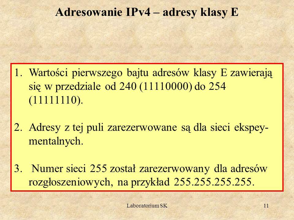Adresowanie IPv4 – adresy klasy E