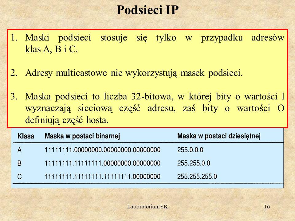 Podsieci IP Maski podsieci stosuje się tylko w przypadku adresów klas A, B i C. Adresy multicastowe nie wykorzystują masek podsieci.