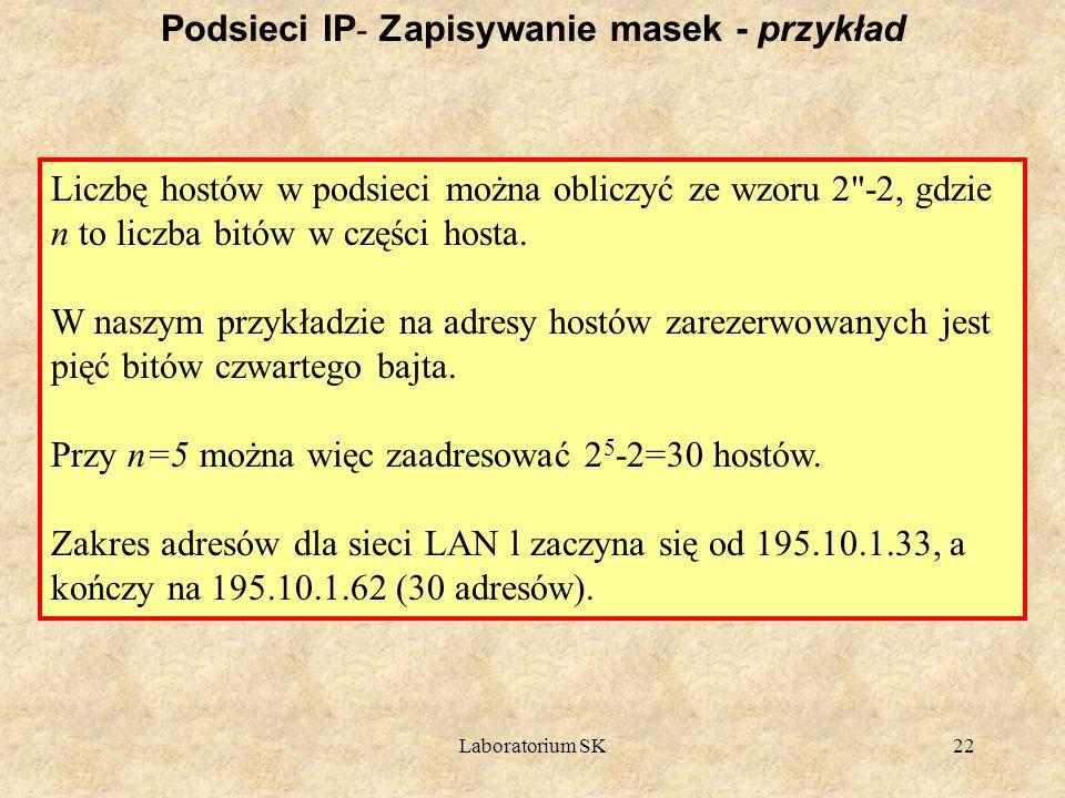 Podsieci IP- Zapisywanie masek - przykład
