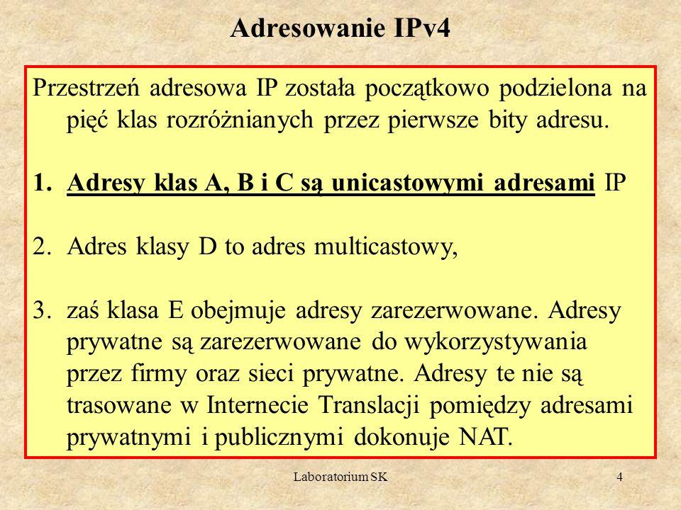 Adresowanie IPv4 Przestrzeń adresowa IP została początkowo podzielona na pięć klas rozróżnianych przez pierwsze bity adresu.