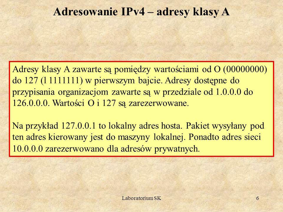 Adresowanie IPv4 – adresy klasy A