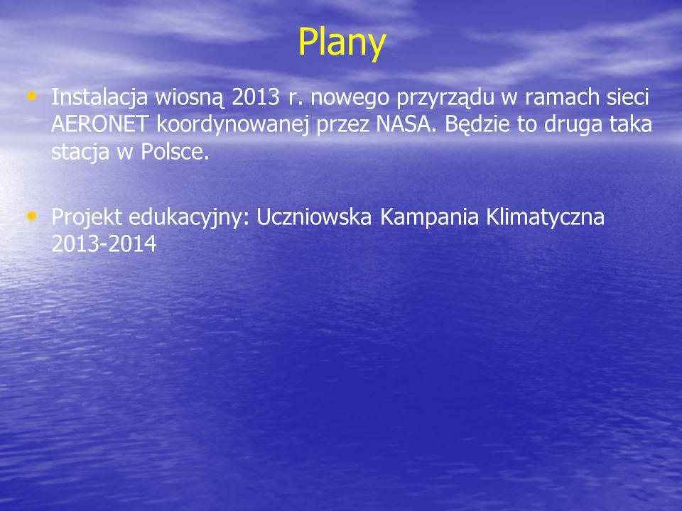 PlanyInstalacja wiosną 2013 r. nowego przyrządu w ramach sieci AERONET koordynowanej przez NASA. Będzie to druga taka stacja w Polsce.