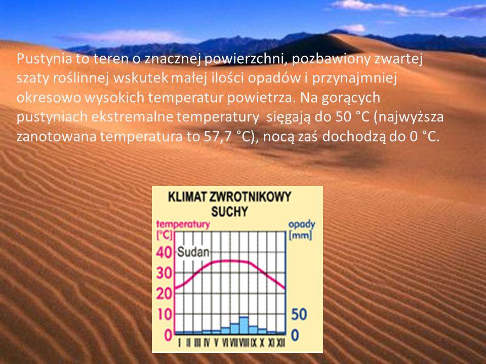 Pustynia to teren o znacznej powierzchni, pozbawiony zwartej szaty roślinnej wskutek małej ilości opadów i przynajmniej okresowo wysokich temperatur powietrza.