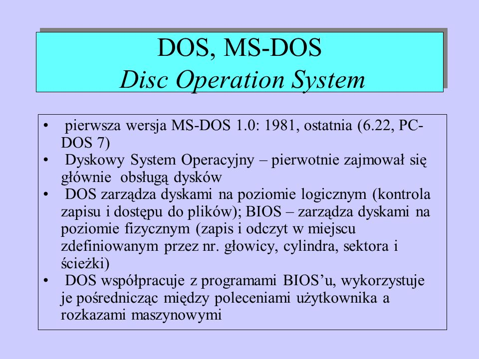 DOS, MS-DOS Disc Operation System