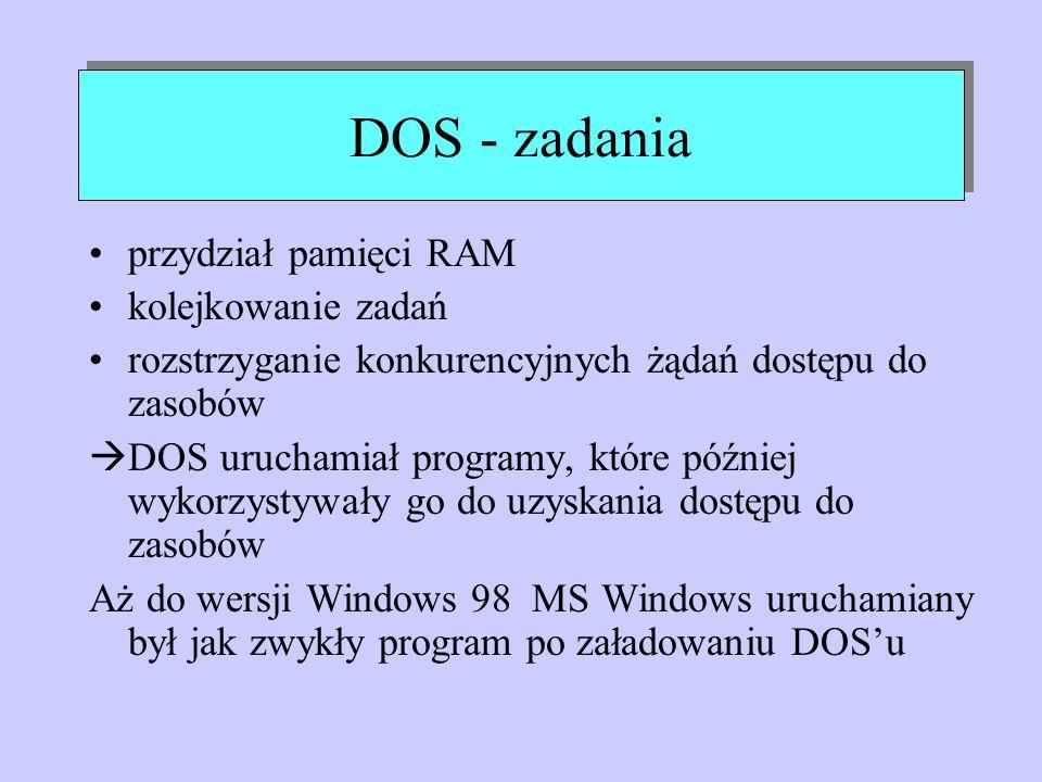DOS - zadania przydział pamięci RAM kolejkowanie zadań