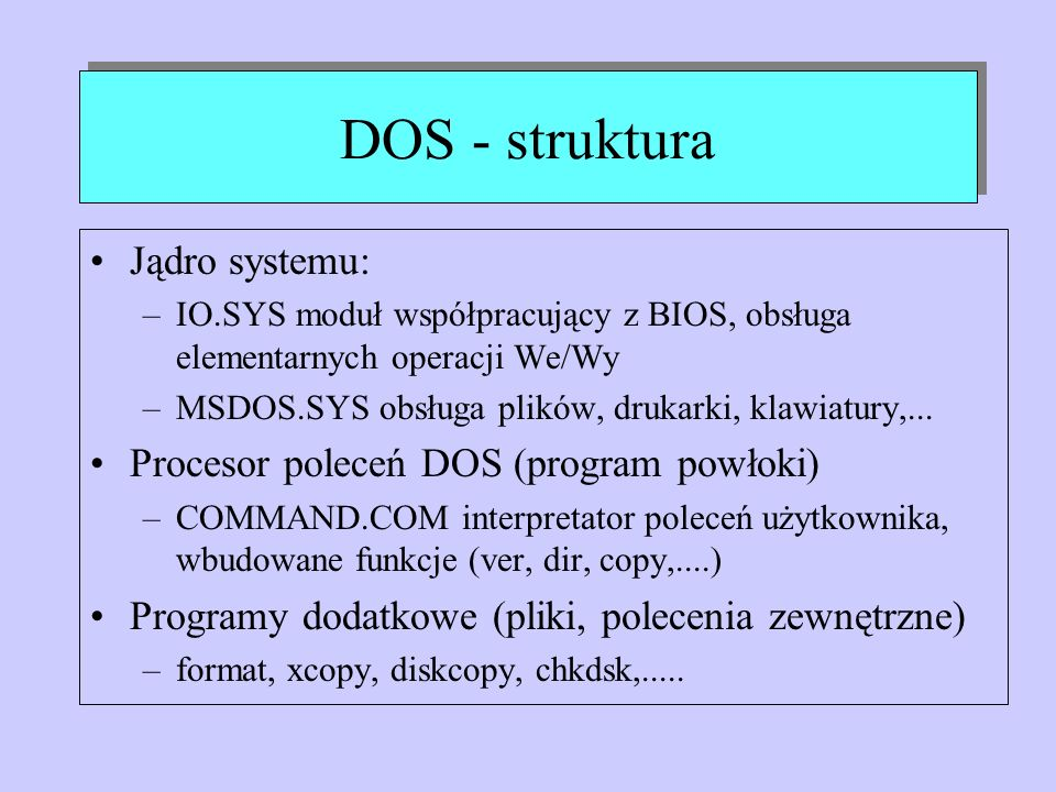 DOS - struktura Jądro systemu: Procesor poleceń DOS (program powłoki)