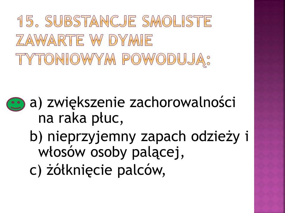 15. Substancje smoliste zawarte w dymie tytoniowym powodują: