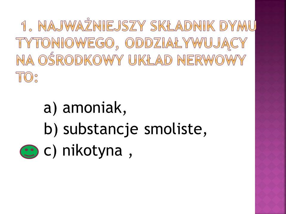 b) substancje smoliste, c) nikotyna ,