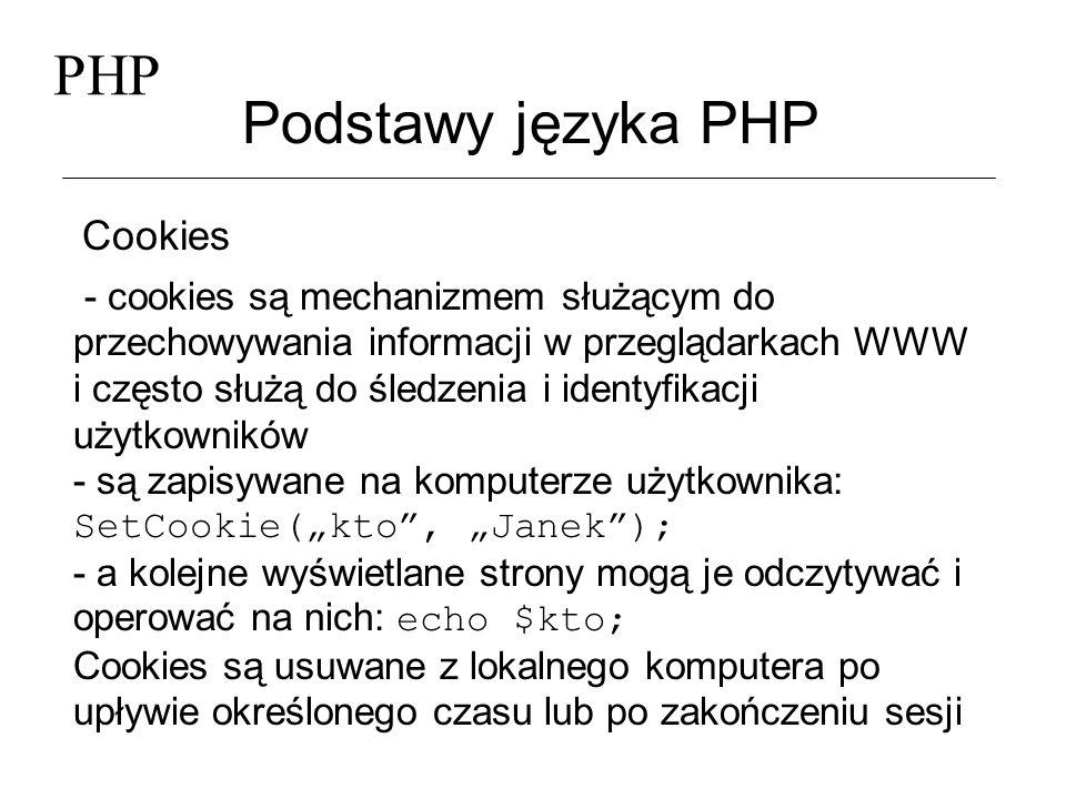 PHP Podstawy języka PHP Cookies