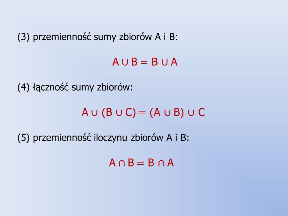 (3) przemienność sumy zbiorów A i B: A ∪ B = B ∪ A (4) łączność sumy zbiorów: A ∪ (B ∪ C) = (A ∪ B) ∪ C (5) przemienność iloczynu zbiorów A i B: A ∩ B = B ∩ A