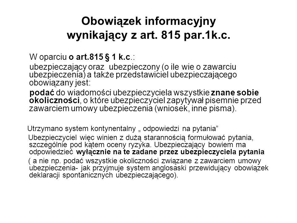Obowiązek informacyjny wynikający z art. 815 par.1k.c.