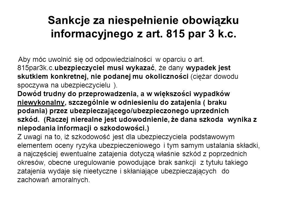 Sankcje za niespełnienie obowiązku informacyjnego z art. 815 par 3 k.c.