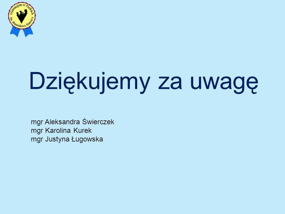 Dziękujemy za uwagę mgr Aleksandra Świerczek mgr Karolina Kurek