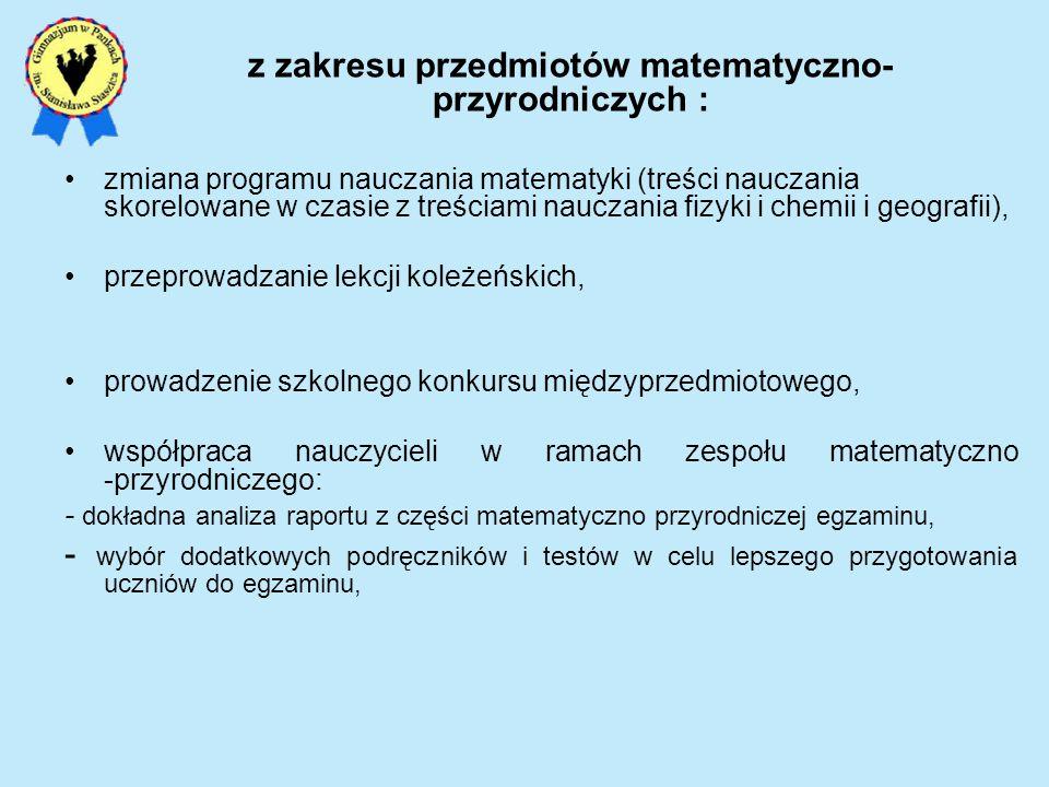 z zakresu przedmiotów matematyczno-przyrodniczych :