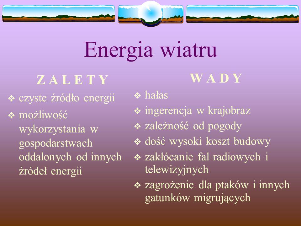 Energia wiatru Z A L E T Y W A D Y czyste źródło energii hałas