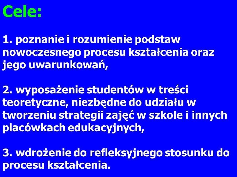 Cele: 1. poznanie i rozumienie podstaw nowoczesnego procesu kształcenia oraz jego uwarunkowań,
