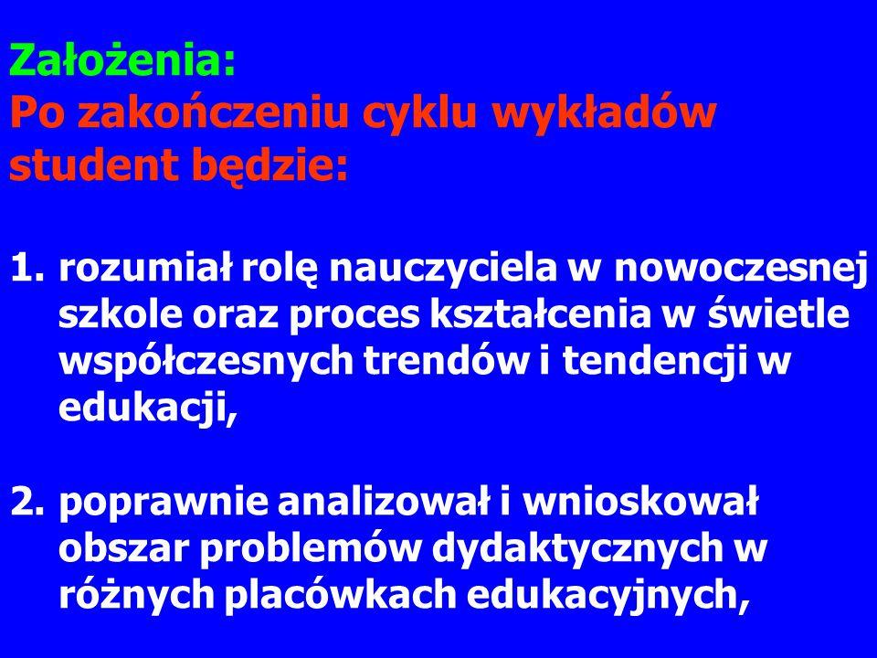 Po zakończeniu cyklu wykładów student będzie:
