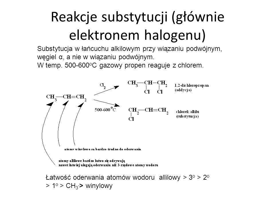 Reakcje substytucji (głównie elektronem halogenu)