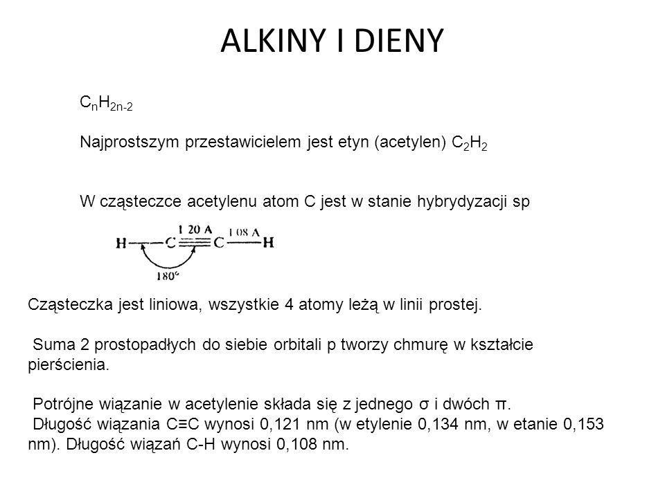 ALKINY I DIENY CnH2n-2. Najprostszym przestawicielem jest etyn (acetylen) C2H2. W cząsteczce acetylenu atom C jest w stanie hybrydyzacji sp.