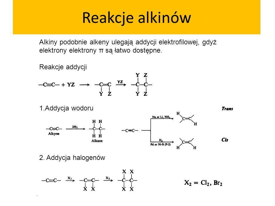Reakcje alkinów Alkiny podobnie alkeny ulegają addycji elektrofilowej, gdyż elektrony elektrony π są łatwo dostępne.