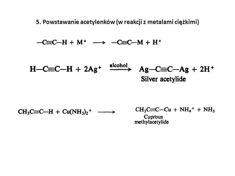 5. Powstawanie acetylenków (w reakcji z metalami ciężkimi)